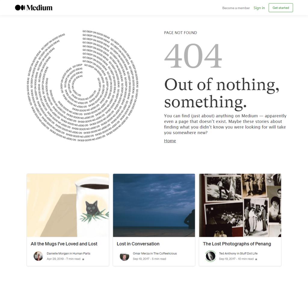 Medium's 404 page
